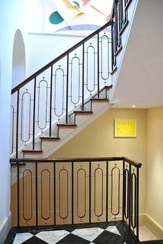 Campden Hill is another example of a high-end steel balustrade steel staircase made by Elite Metalcraft in London. Contact us today for bespoke stairs. Wrought Iron Stair Railing, Staircase Handrail, Interior Staircase, Banisters, Balustrade Design, Stair Railing Design, Steel Stairs, Steel Deck, Steel Railing