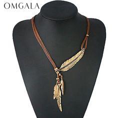 OMGALA Aussage Halskette Böhmischen Stil Seil Kette Feder Muster Anhänger Halskette Für Frauen Modeschmuck Collares