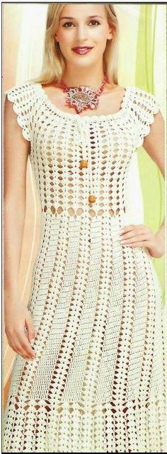 muçambê artesanato: Maravilhoso Vestido em Crochê com pontos bem simpl...