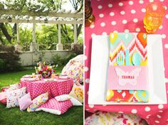 bold pink tablescape, perfect for a garden wedding reception