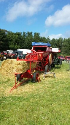 Antique mechanical hay baler at the Royal Manx Show