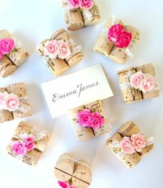 Wedding Place Card Holders made from Vintage Wine Corks, Ombre Pink Paper Flowers & Delicate White Lace, Shabby Chic Lace Decor Make Your Own Wedding Cards, Make Your Own Wine, Wedding Places, Wedding Place Cards, Wedding Gifts, Wedding Reception Decorations, Wedding Table, Wedding Ideas, Rustic Wedding