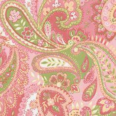 Pink, green paisley