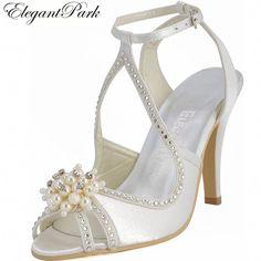 2ba2119a105e Summer Sandals Woman Wedding Bridal Shoes Ivory White Pearl Ankle Strap High  Heel Rhinestone Satin Bridesmaid