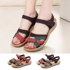 Leather Sandals Flat, Leather Wedges, Flat Sandals, Wedge Shoes, Shoes Sandals, Sandal Wedges, Brown Sandals, Toe Shoes, Flat Shoes