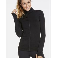 ✨Fabletics Jacket* Fit: Fitted. Runs True To Size.Length: Hip Fabric Content: 92% Nylon/8% Elastane Features: Soft, Seamless Fabric, Contrast Zip Front Closure, Textured Jacquard Design Imported. Thumb holes. No pockets Fabletics Tops