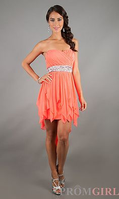 High Low Strapless Dress at PromGirl.com