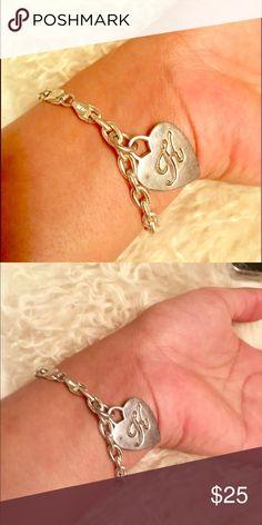 K initial silver charm bracelet Good condition. Jewelry Bracelets