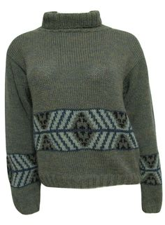 Indigenous Designs #Alpaca #Wool Green Turtleneck #Sweater Women M #Nordic 8 10 Peru #IndigenousDesigns #TurtleneckMock