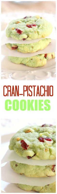 Cran Pistachio Cookies - festive and delicious! the-girl-who-ate-...