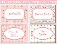 Pink Party Decor Imprimibles Editables Place por blossompaperart