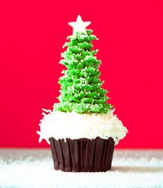 Christmas Tree Cupcakes Using Ice Cream Cones. Let your child bring a unique treat to their school Christmas party and put a smile on everyones face!