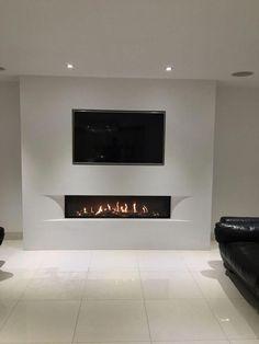 Living Room Decor Fireplace, Fireplace Tv Wall, Modern Fireplace, Living Room Tv, Small Living Rooms, Living Room Modern, Living Room Designs, Wallpaper Fireplace, Minimalist Fireplace