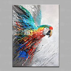 Single Modern Abstract Pure Hand Draw Ready To Hang Decorative The Parrot Oil Painting 4670227 2016 – $55.50