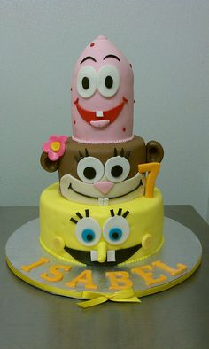 Isabel's Spongebob theme Cake by Little Sugar Bake Shop, via Flickr