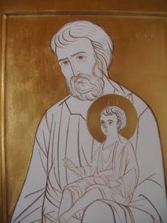 św. Józef z Dzieciątkiem Religious Icons, Religious Art, Super Easy Drawings, Byzantine Icons, Holy Family, Orthodox Icons, St Joseph, Sacred Art, Christian Art