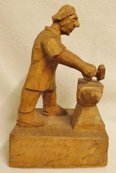 Tom  Gnome Man  Whittaker of Littlebeck - Carved Oak Figure of a Blacksmith