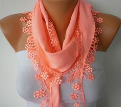 Coral Scarf    Pashmina Scarf   Headband Necklace Cowl by fatwoman, $13.50