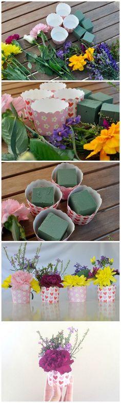 Mother's Day Gift Idea: Use a decorative cupcake case to make mini flower arrangement. Mothers Day Decor, Mothers Day Brunch, Mothers Day Crafts, Mother Day Gifts, Crafts For Kids, Mothers Day Flowers, Diy Crafts, Deco Floral, Arte Floral