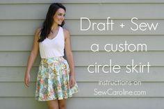 Draft + Sew a Custom Circle Skirt, Part 2: Draft the pattern by Sew Caroline