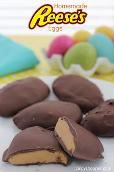 Homemade Reeses Eggs. Great for wrapping in cellophane and placing in Easter Baskets. So Yummy! The BEST Easter Candy!