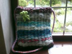 Bag made on a peg loom inspired by http://www.cutoutandkeep.net/projects/peg-loom-weaving-bag - Angel pin pattern by Noreen Crone-Findlay