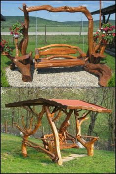 Rustic Log Swings