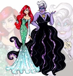 Hayden Williams Fashion Illustrations: Princess vs Villainess by Hayden Williams: Ariel & Ursula