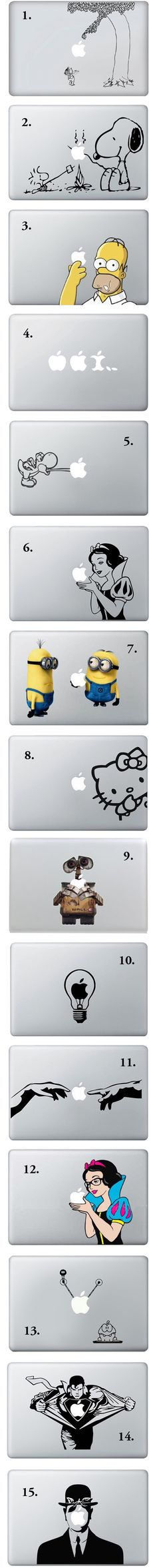 I dont have a macbook but these are pretty sweet... Macbook Vinyl Decals.  The Giving Tree, Snow White and the Yoshi ones are my faves :)