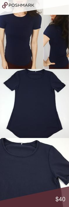 Lululemon navy color breathable tee -B5 Lululemon navy tee, size 6. Amazing breathable materials! No tag. Used item, pictures show any signs of wear or use. Bundle up! Offers are always welcome.  :)  Shop my husband's closet!: @kirchingeraaron lululemon athletica Tops