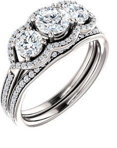 ApplesofGold.com - Three Stone Diamond Halo Bridal Engagement Wedding Ring Set Wedding Jewelry $2,550.00
