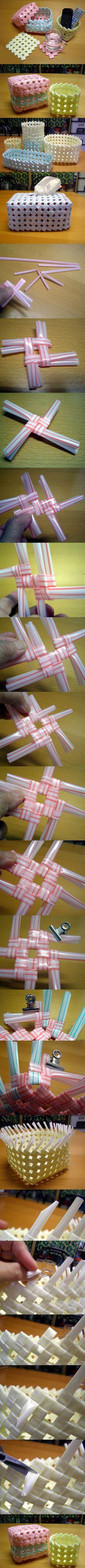 DIY Woven Straw Storage Baskets 2