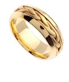 14K Yellow Gold Wedding Band, Men and Women Wedding Ring, Engagement Ring…