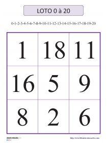 Librairie-Interactive - Loto des nombres de 0 à 20