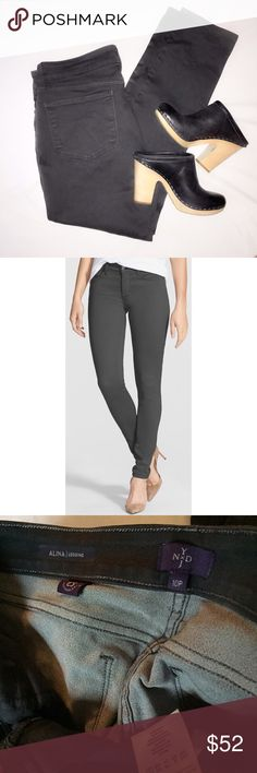 "NYDJ ""Alina"" gray jeans I love these jeans so much I had three pairs!! They are perfectly skinny and stretchy and flattering. Only wore this pair once before my size changed. Like new condition. Exclusive lift-tuck technology helps flatten the tummy and lift the rear. They really are amazing! They say to size down on these. Could fit 10P or 12P.  * 28 1/2"" inseam; 10"" front rise. * Zip fly with button closure. * Five-pocket style. * Cotton/polyester/spandex. NYDJ Jeans"