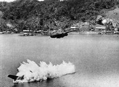 wo of twelve U. Havoc light bombers on a mission against Kokas, Indonesia in July of The lower bomber was hit by anti-aircraft fire after dropping its bombs, and plunged into the sea, killing both crew members Air Raid, Nagasaki, Hiroshima, Wagon R, Aircraft Photos, Ww2 Aircraft, Military Aircraft, Dutch East Indies, Iwo Jima