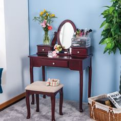 Canora Grey Menke Solid Wood Vanity Set with Stool and Mirror Colour / Base Colour: Brown Sale Table, Vanity Set With Mirror, Vanity Table Set, Wood Vanity, Wooden Vanity, Table, Home Decor, Leather Chair With Ottoman, Vanity Set