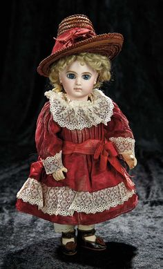 Soirée: A Marquis Cataloged Auction of Antique Dolls and Automata - May 14, 2016: 10 Beautiful French Bisque Bebe E.J., Size 5, with Gorgeous Antique Costume and Shoes