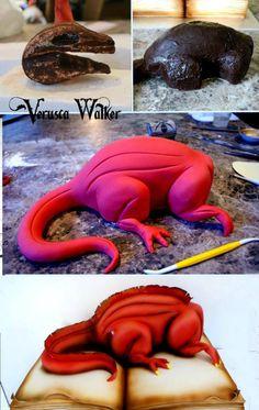 Marble cake decorated with fondant Dragon Cake 3d Cakes, Fondant Cakes, Cupcake Cakes, Shoe Cakes, Pink Cakes, Fondant Bow, Fondant Toppers, Fondant Flowers, Cake Decorating With Fondant