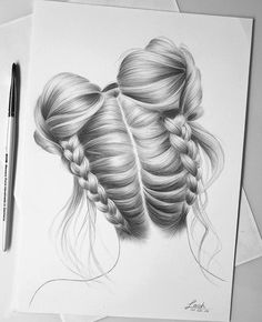 Art - hairstyle - - Art - hairstyle - - Soft, shiny, silky and well-groomed hair is our dream. Girl Drawing Sketches, Girly Drawings, Pencil Art Drawings, Realistic Hair Drawing, Illustration Inspiration, Art Du Croquis, Hair Sketch, How To Draw Hair, Beautiful Drawings