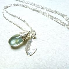 Moss Aquamarine Necklace Sterling Silver Jewelry by LittleAppleNY