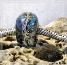 1 original handmade Nemo Glass Bead Unikat, SRA, 9 x 15 mm OOAK, Nebula Earthbead