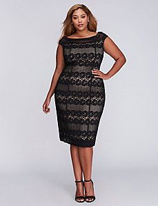 3c6f91e28a36a Lace Boatneck Sheath Dress by Gabby Skye Trendy Plus Size Clothing