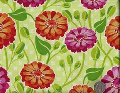floral print fabrics from the UK | ... 'ZINNIA GARDEN' On Green Floral Print Cotton Quilt Fabric | eBay