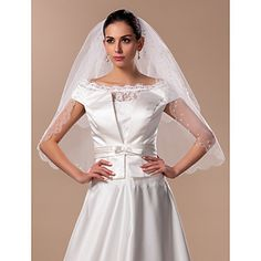 Two-tier Elbow Wedding Veil With Pearl(More Colors) – USD $ 39.99