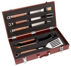 Mr Bar B Q 02136X PD Forged 5-Piece Set in Wood Carrying Case by MR BAR B Q. $89.99. 5-Piece forged stainless steel tool set in genuine hard wood carrying case. Diamond Prestige packaging with Lifetime Warranty. Set includes: spatula-fork-tongs-basting brush-knife. 2.5-Mm thickness stainless steel with genuine handcrafted rosewood handles. Amazon.com                A handsome present for the gourmet griller, this five-piece barbecue tool set from Mr. Bar-B-Q featur...