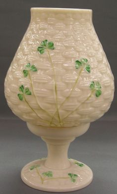 Vintage Belleek Votive Hurricane Lamp - Basketweave Pattern With Shamrocks  Found on Ruby Lane