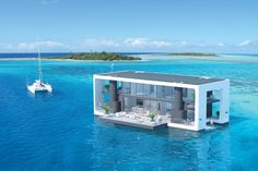 """Equipped to run on shore power or the sun, Arkup's """"first electrical livable yacht"""" combines a luxury yacht, waterfront villa and self-sustainability into a glamorous floating-motoring home. Floating House, Floating In Water, Fort Lauderdale, Maison Sur Leau, 3d Printed House, Underwater House, Water Architecture, Floating Architecture, Luxury Yachts"""