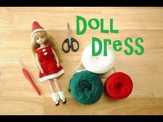 Christmas dolldress (crochet pattern)クリスマス ドールドレス(編み図)크리스마스 돌드레스(도안) - YouTube