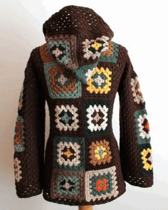brown and multicolor hooded jacket